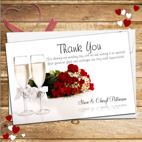 10 Personalised Champagne Flutes Wedding Day Thank you cards N155